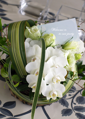 胡蝶蘭と葉もののアレンジメント