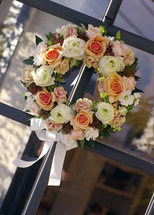 入口のドア花飾り